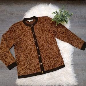Vintage Leopard print button up cardigam size M